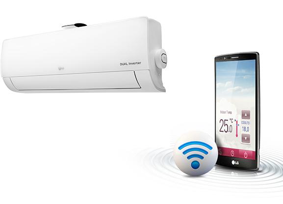 Kết nối wifi, điều khiển bằng điện thoại - Điều hòa LG 2 chiều Inverter 12000BTU B13APF