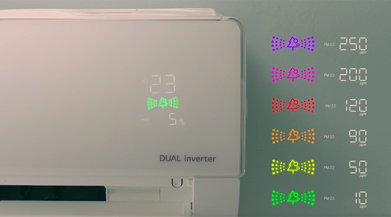 Màn hình hiển thị không khí - Điều hòa LG 2 chiều Inverter 12000BTU B13APF